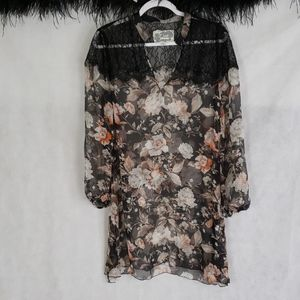 JW JOHNNY WAS 100% silk floral sheer tunic top S